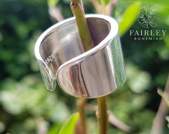 Solid 925 Sterling silver adjustable ring 12mm ~ Thick band ring ~ Solid Silver Ring ~ Thumb Ring ~ Minimalist Stylish Ring ~ Wide band ring