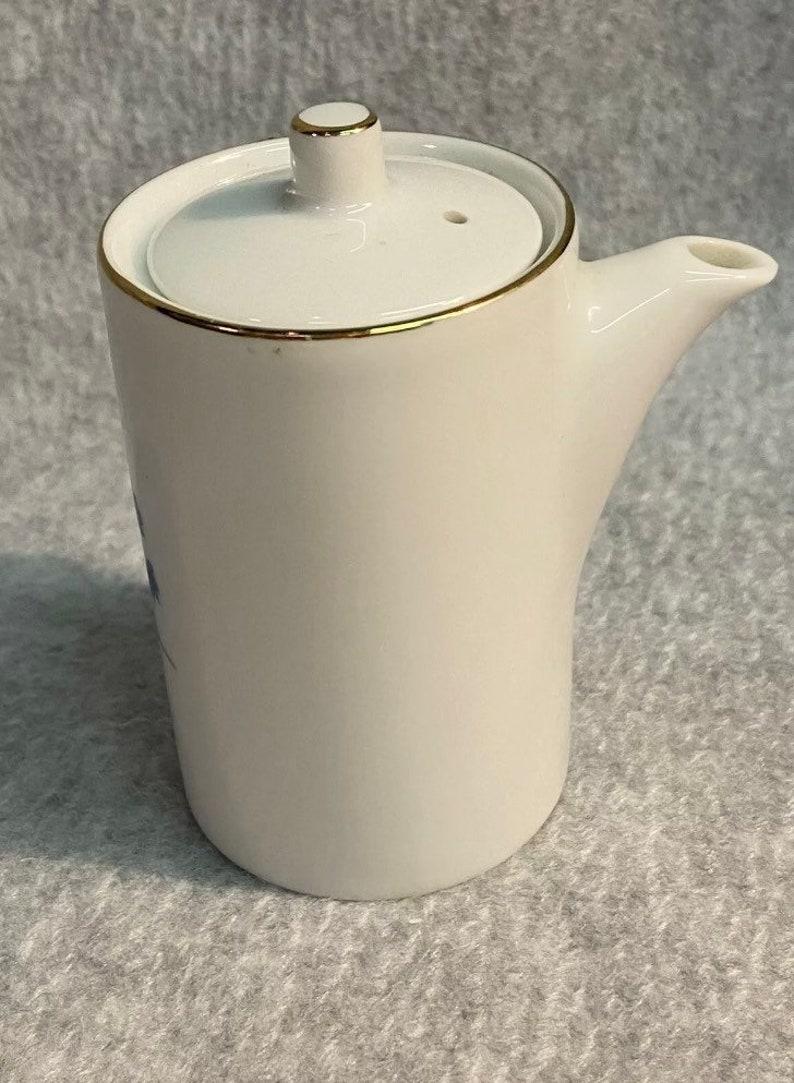 Vintage Tea Creamer Pot w Lid Signed Chinese Porcelain w Dainty Blue /& Orange Floral Decor