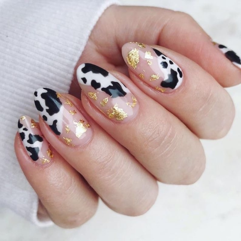 Cow Print With Gold Foils  Press On Nails  Fake Nails  Glue image 1