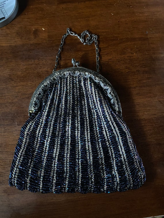 Stunning hand made blue beaded purse. 1930s - image 2