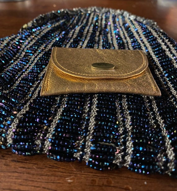 Stunning hand made blue beaded purse. 1930s - image 5