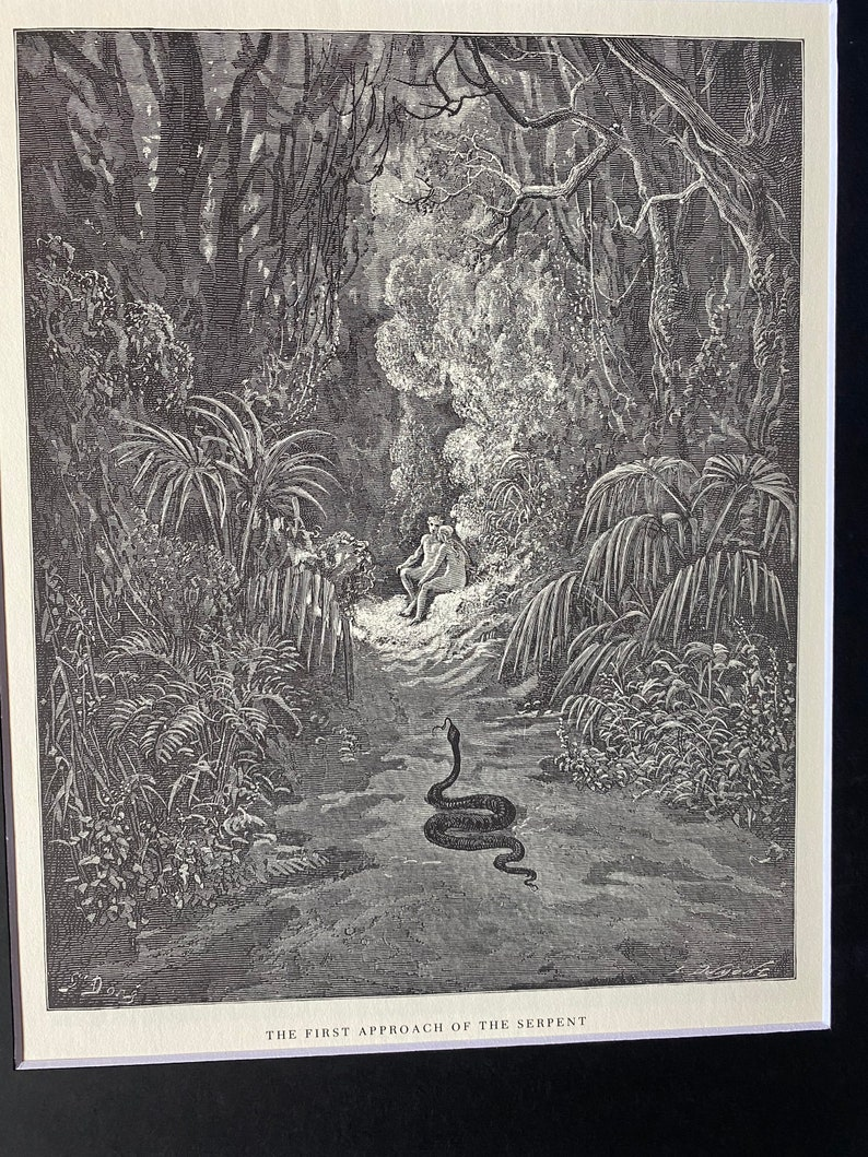 etching book plate The first approach of the serpent by Gustave Dore