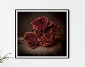Vintage Style Gothic Wall Art, Dead Roses, Old Typewriter Print, Fine Art Photography, Rose Wall Art