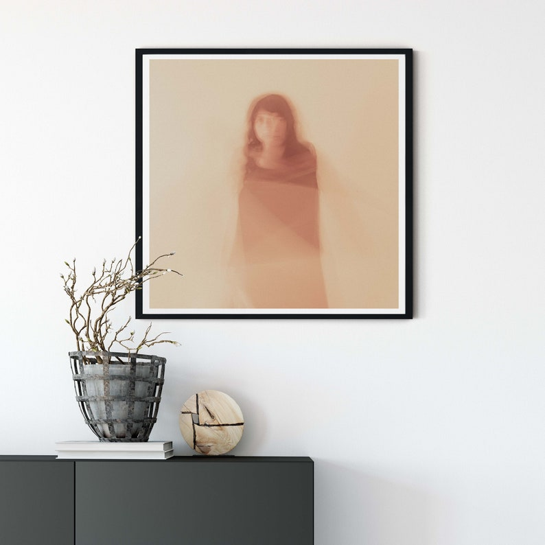 Red tinted wall art of woman for home or office decor Portrait of Woman Wall Art for Home or Office Decor