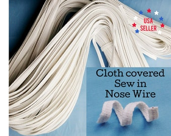 Easy SEW In Flat Nose Wire For Face Mask | 1.13 mm Cloth Covered Sew in  | USA Seller | Sold by the Yard