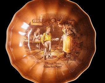 """Vintage Sandland Hanley Staffordshire England Oliver Twist Asks For More Trinket Ring Dish 5 3/8"""" Diameter"""