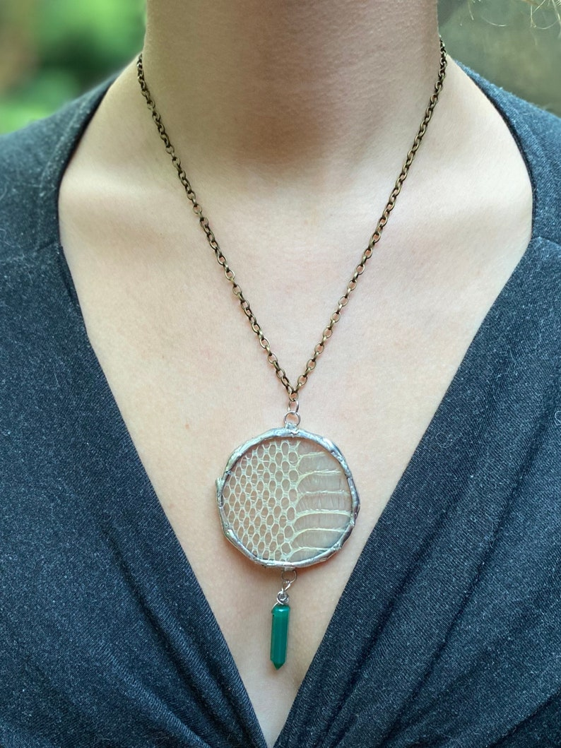 Snakeskin and emerald crystal pendant necklace