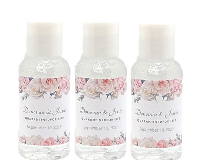 30 QUARANTINED FOR LIFE Wedding Hand Sanitizers for Weddings, Bridal Showers & Engagements 2oz Bottles w/ white flip caps