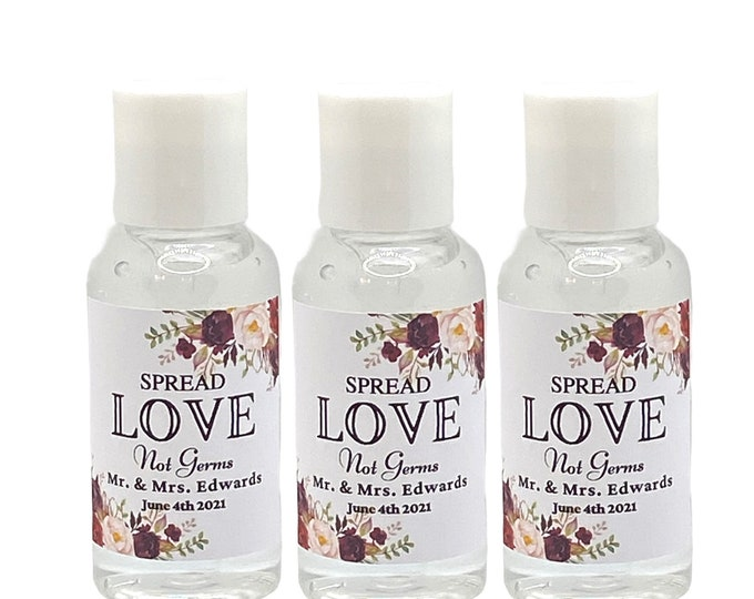 50 Custom Wedding Sanitizers Personalized With Your Details. Wedding Favors  Bridal Favors  Engagement Party Favors