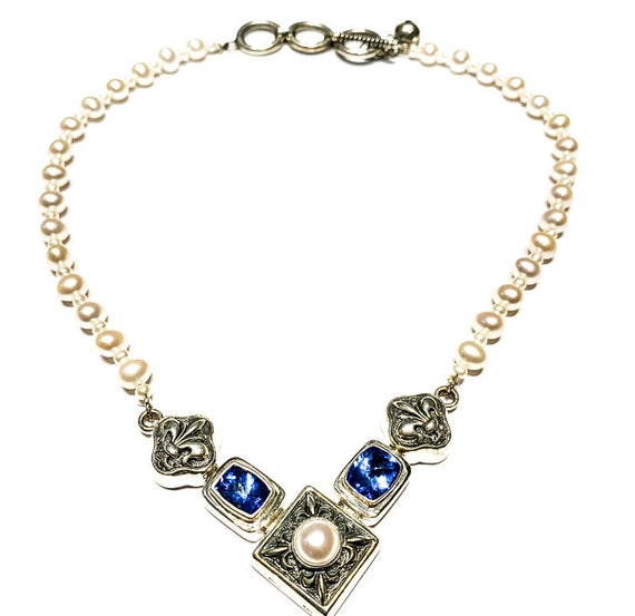 SS Blue Topaz & Pearl Necklace