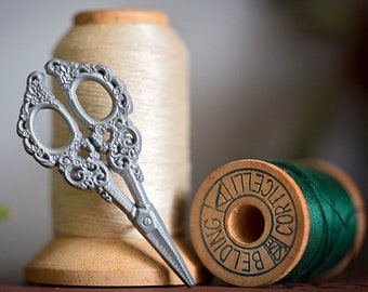 Stitchcraft Silver Scissors PIN   19th century Victorian   fashion tailor seamstress sewing   embroidery stitch witch goth   Lively Ghosts