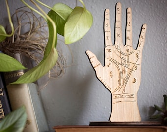 Palmistry Ring Holder   handmade engraved wooden hand   chiromancy palmist fortune teller reader   esoterica occult witch   Saynomore Studio