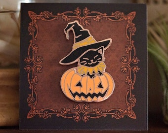 Halloween Edition ** Pumpkin Kitty Enamel Pin   copper plated push pin   black cat trick-or-treat   creepy cute jackolantern   Pickety Witch