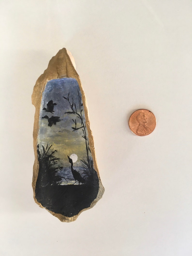 Ring Holder Miniature Painting Oyster Ring Dish with a Heron Hand Painted in Acrylics Crane Jewelry Dish Egret