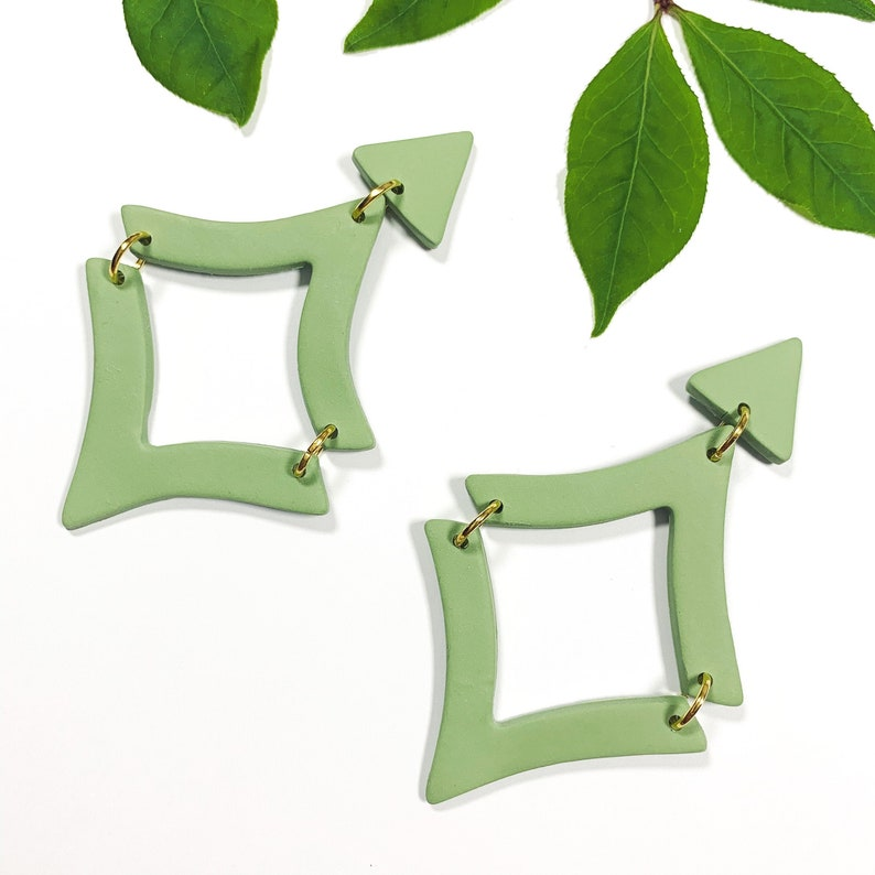 Olive Triangular Modern Dangles Gold Accents Handmade SASHA Elegant Statement Earrings Polymer Clay Earrings Lightweight Jewelry
