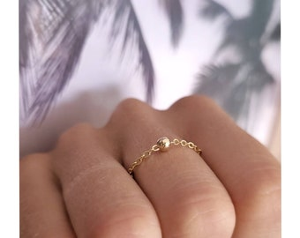 Gold ring chain with golden solitary ball bead, stainless steel, waterproof