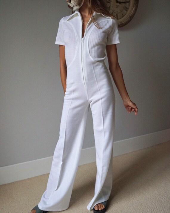 Vintage 1970s White Knit Jumpsuit