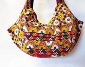 Handbag-satchel-carry all VintageTribal embroidery bag. One of a kind handmade.
