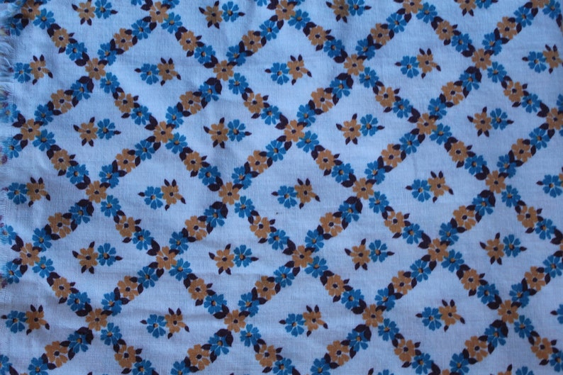 yellow and blue flower pattern Vintage full feed sack fabric