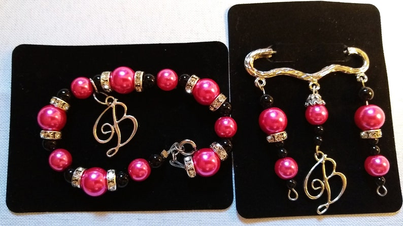 B Pin Brooch Pink Black Silver Adult Sz Collectors Item Glass Beads