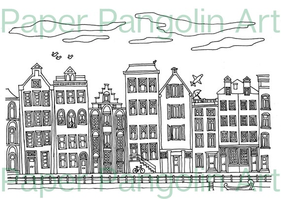 3 Colouring Pages Waterside Towns Printable Colouring Pages Etsy