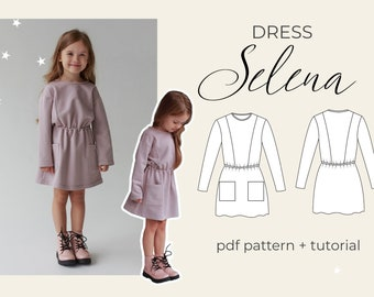 """Dress """"Selena"""" PDF Sewing Pattern/ size 3 years - to 13 years / Girls Patterns / Sewing tutorial by Milkyclouds"""