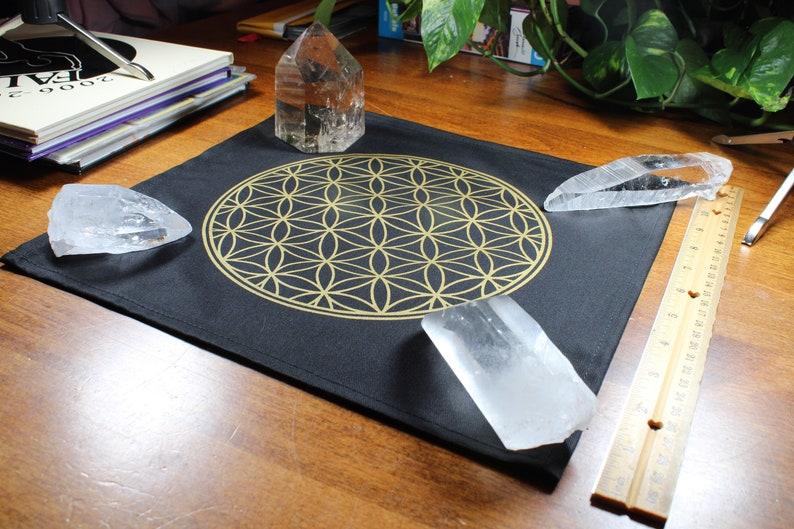 Flower of Life Crystal Grid  Cotton Crystal Grid  12 x 12 Inches  Golden Flower of Life  Flower Of Life Wall Art  Sacred Geometry Grid