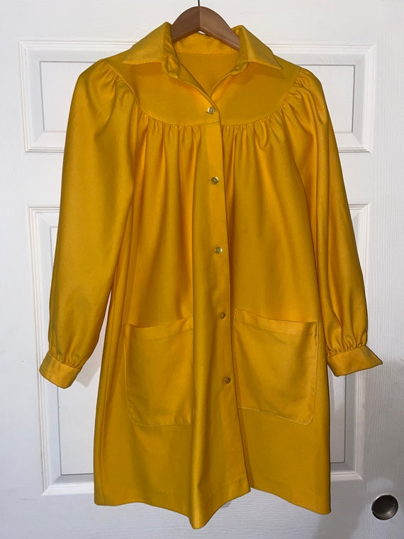 Vintage Bright Yellow 60s/70s dress/jacket - image 1
