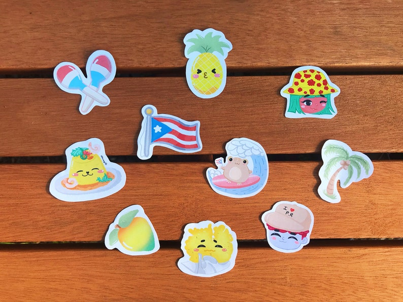 Water Resistant The Cute Puertorican Sticker Pack of 10 Planner Stickers Glossy Sticker Paper