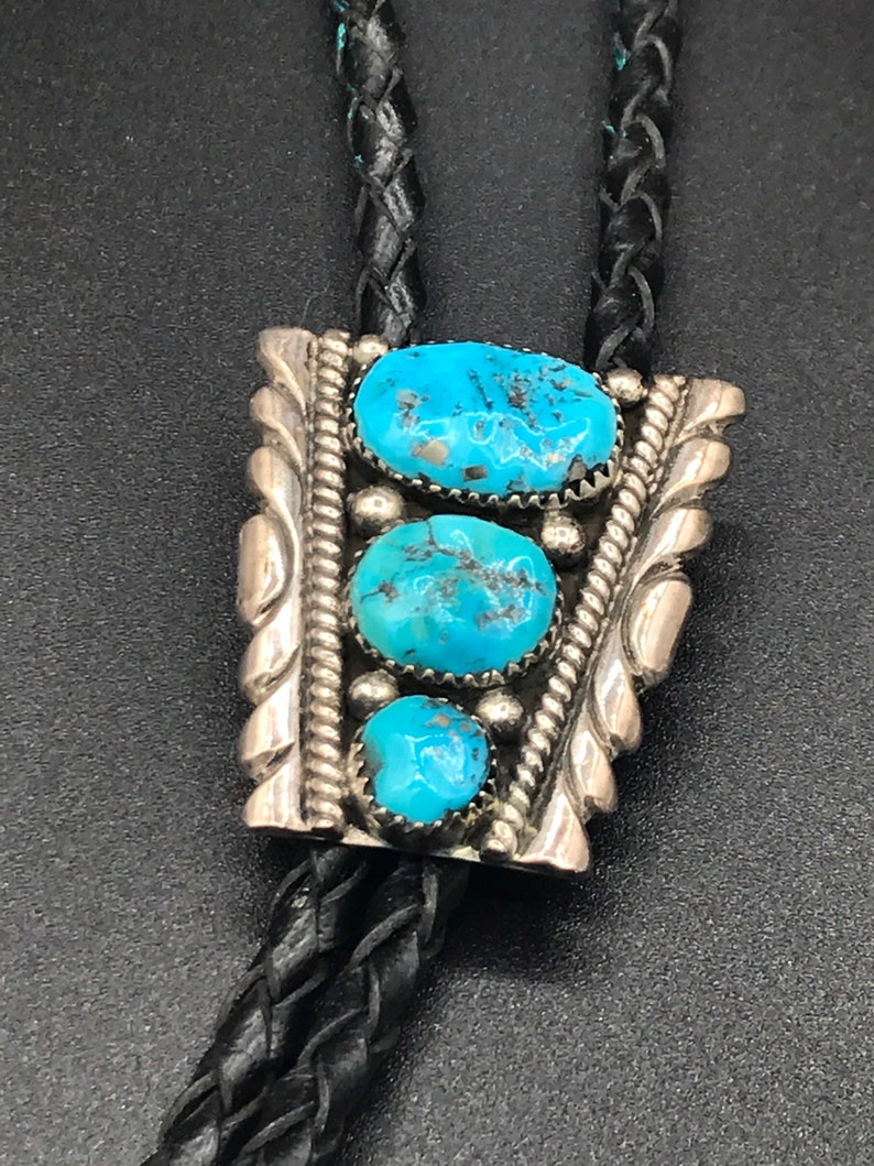 Zuni Native American bolo sterling silver turquoise Robert /& Bernice Leeya