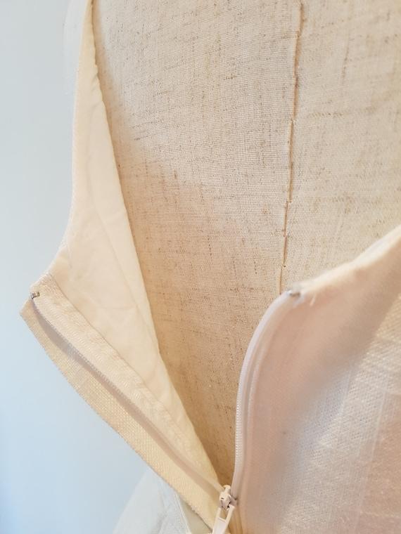 Lovely handmade Cream Linen Princess line sleevel… - image 8