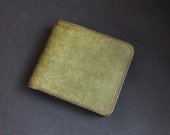 Wallet Leather  Pueblo  Olive/Tobacco. Hand-Sewn, Handmade.