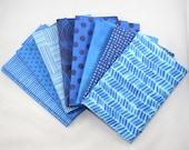 "Fat Quarter Bundle, Fat Quarter Fabric ""Details"" Blue Digital Fabric"