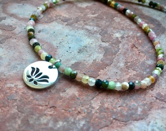 Colorful natural  healing stone necklace made of shiny tourmaline rondell beads and lotus blossom plate pendant made of stainless steel