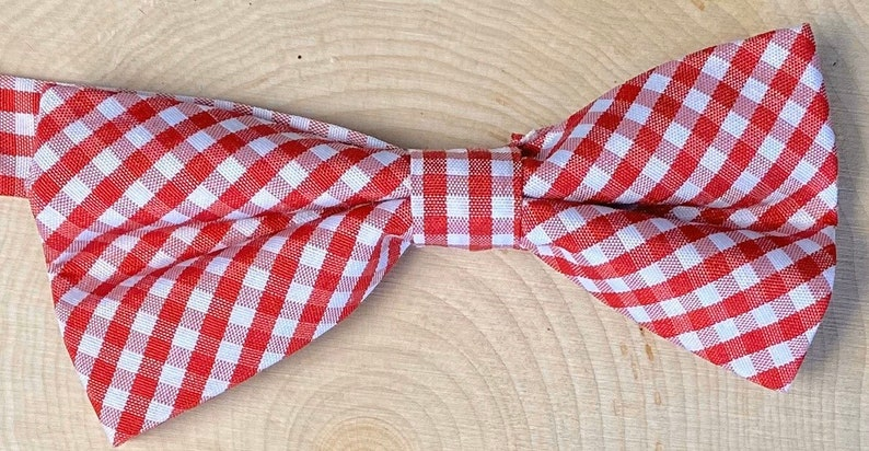 Boys RedWhite Bow Ties Adjustable 5-12 Year Olds Dog Bow Ties Checkered Cotton Fabric Pets Bow Ties Double Layer Cats Bow Ties