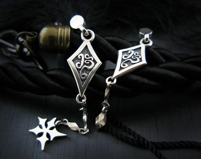 BT dia-DZ Unbalance Silver Dangle Earrings Women Mens Earrings Sterlingworth Kpop Unisex Studs Long Dorp Earrings