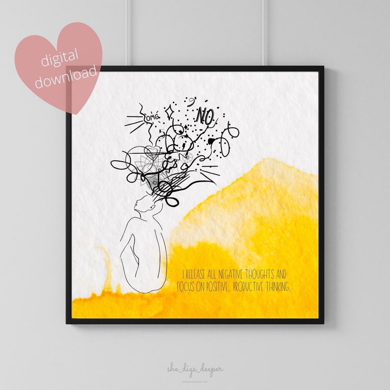Affirmation Art Print Release Negative Thoughts & Focus On image 0
