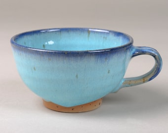 Large cup, handle cup, coffee cup, mug, handle cup, ceramic cup, cappucino, hand-turned, potter's disc, handmade, turquoise