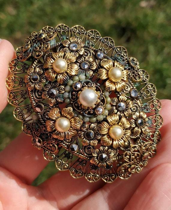 gift for her Antique vintage brooch pre-war brooch filigree brooch floral pattern brooch made in Germany silver gold plated brooch