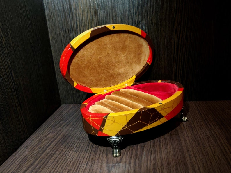 Jewelry organizer Geometric pattern Hand painted box Jewelry storage Christmas gift Jewelry box OOAK box