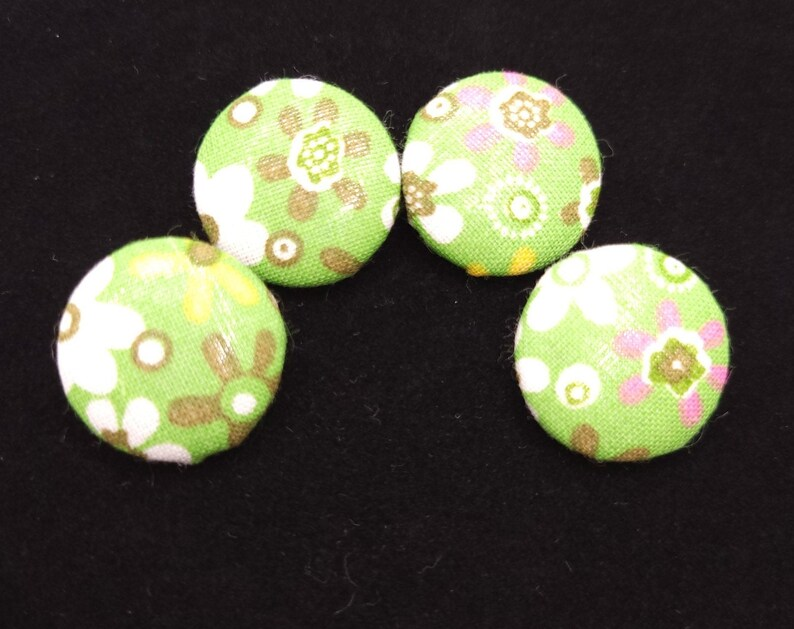 set of 4 Retro Fabric Covered Buttons For sewing crafting and so much more!