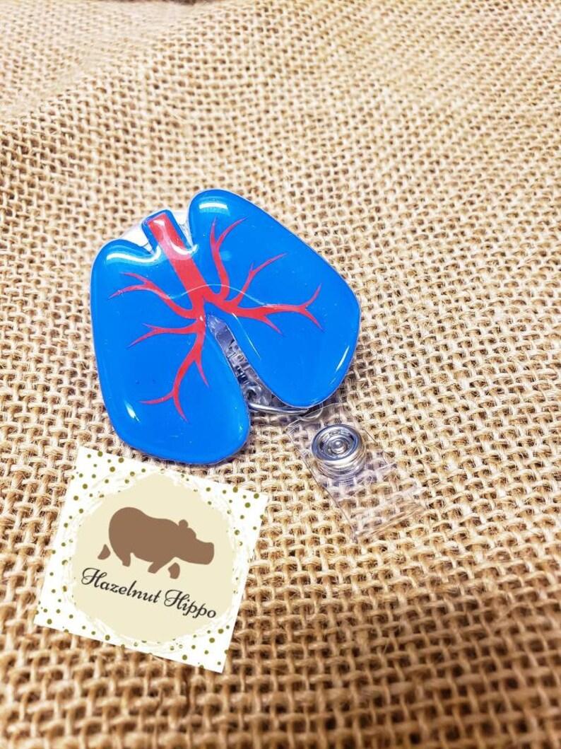 Just Breathe Lung Interchangeable Retractable Badge Reel