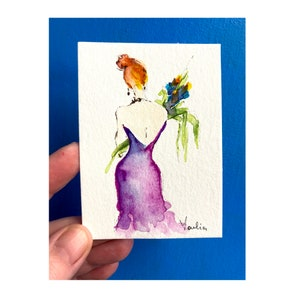 ACEO Art Trading Card Whimsical Floral Blue Bird Fine Art Painting OAK Original Miniature Intuitive Painting