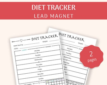 Diet Tracker | Weekly Meal Planner | Therapist Tools | Lead Magnet | Printable | PDF Download A4, A5, US Letter | Undated