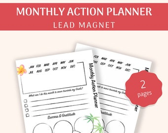 Monthly Action Planner | Goal Setting | Therapist Tools | Lead Magnet | Printable | PDF Download A4, A5, US Letter | Undated