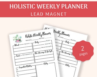 Holistic Weekly Planner | Therapist Tools | Lead Magnet |  Printable | PDF Download A4, A5, US Letter | Undated