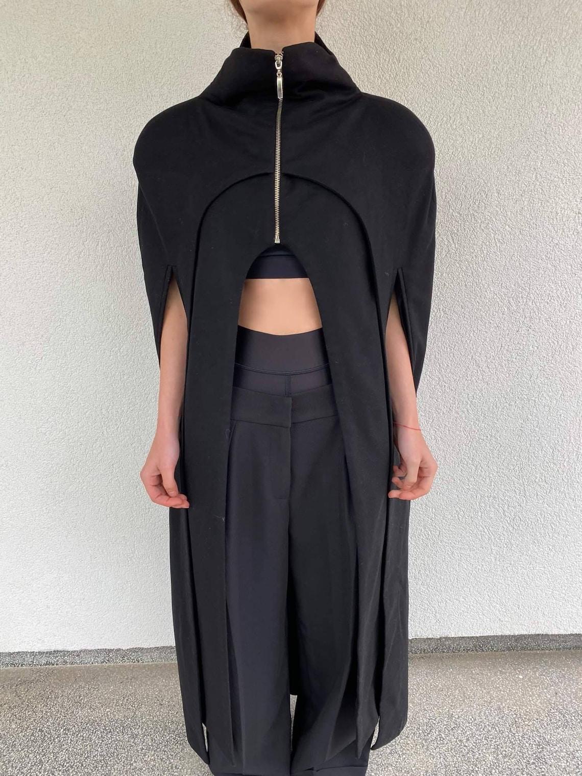 Black Wool Cape / Coat