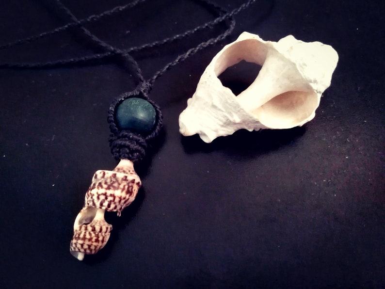 Makramee Halskette mit Muschel