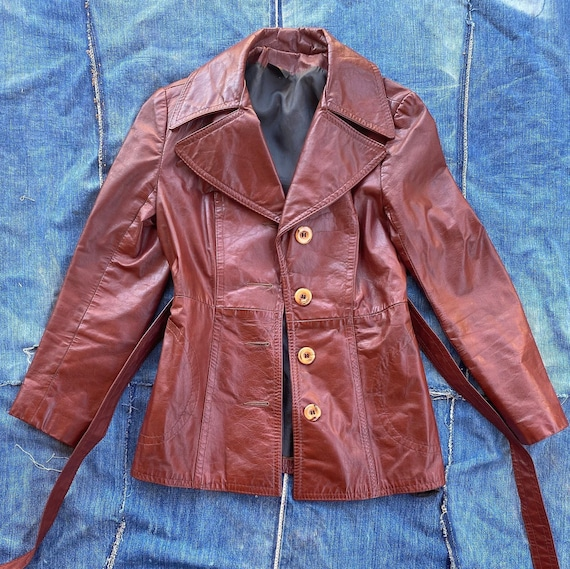 Vintage 70s/80s Brick Red Leather Jacket size Sm