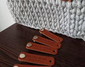 Labels Handmade Etiketten  Nähen Kunstleder Label für Kleidung Jeans DIY 1 Set mit Buchschrauben